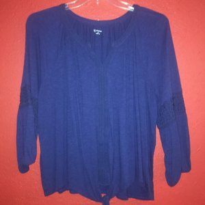 New Directions Size XL Navy Blue Peasant Blouse